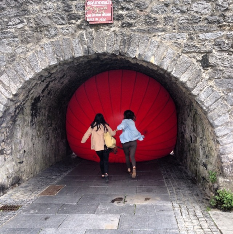 6. @kinlayhostelgalway at the Spanish Arch in Galway with art installation by @redballproject