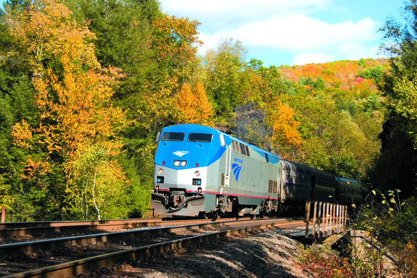 View of the Lakeshore Limited through autumn foliage