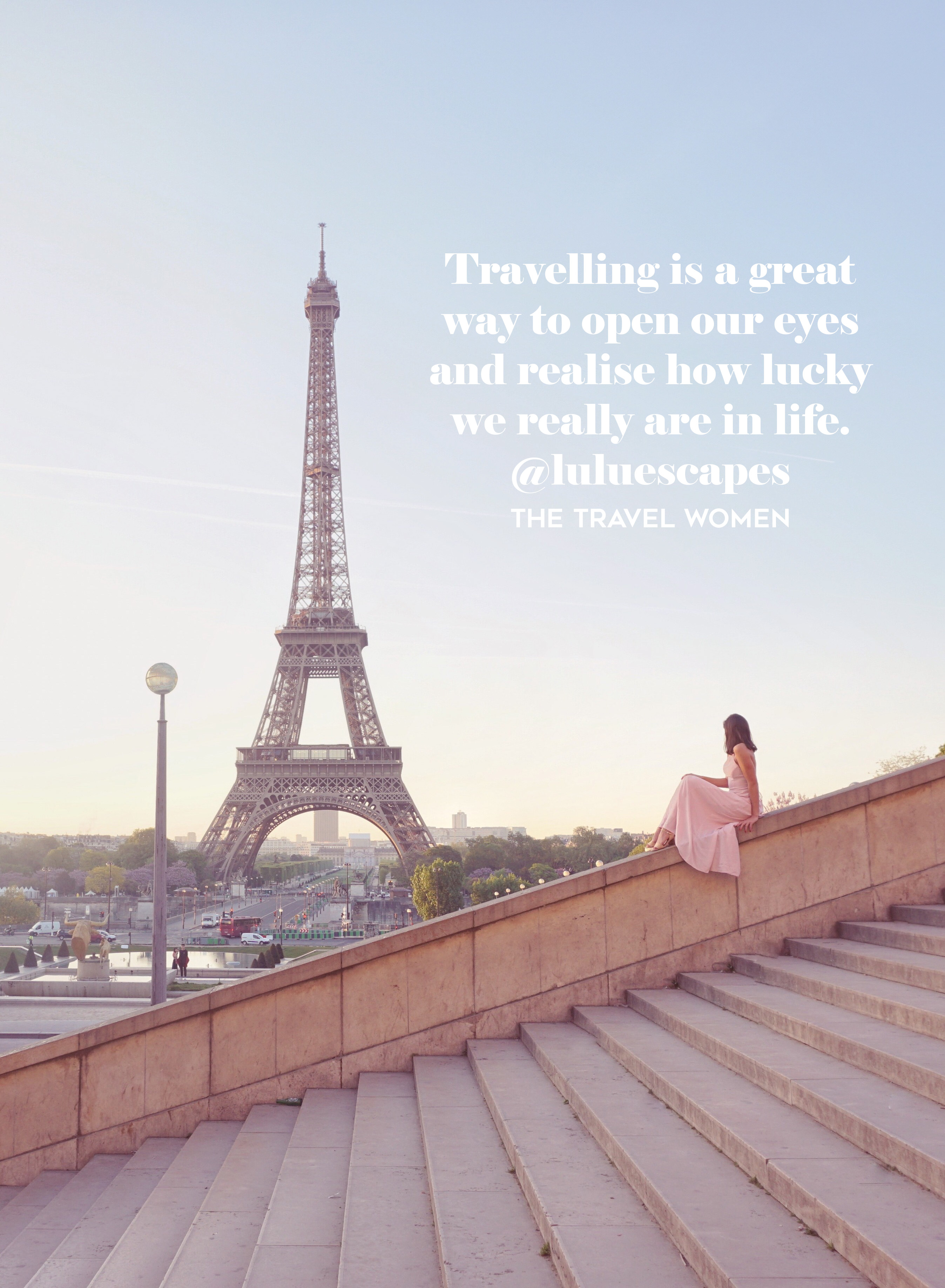 Woman in front of Eiffel Tower in Paris