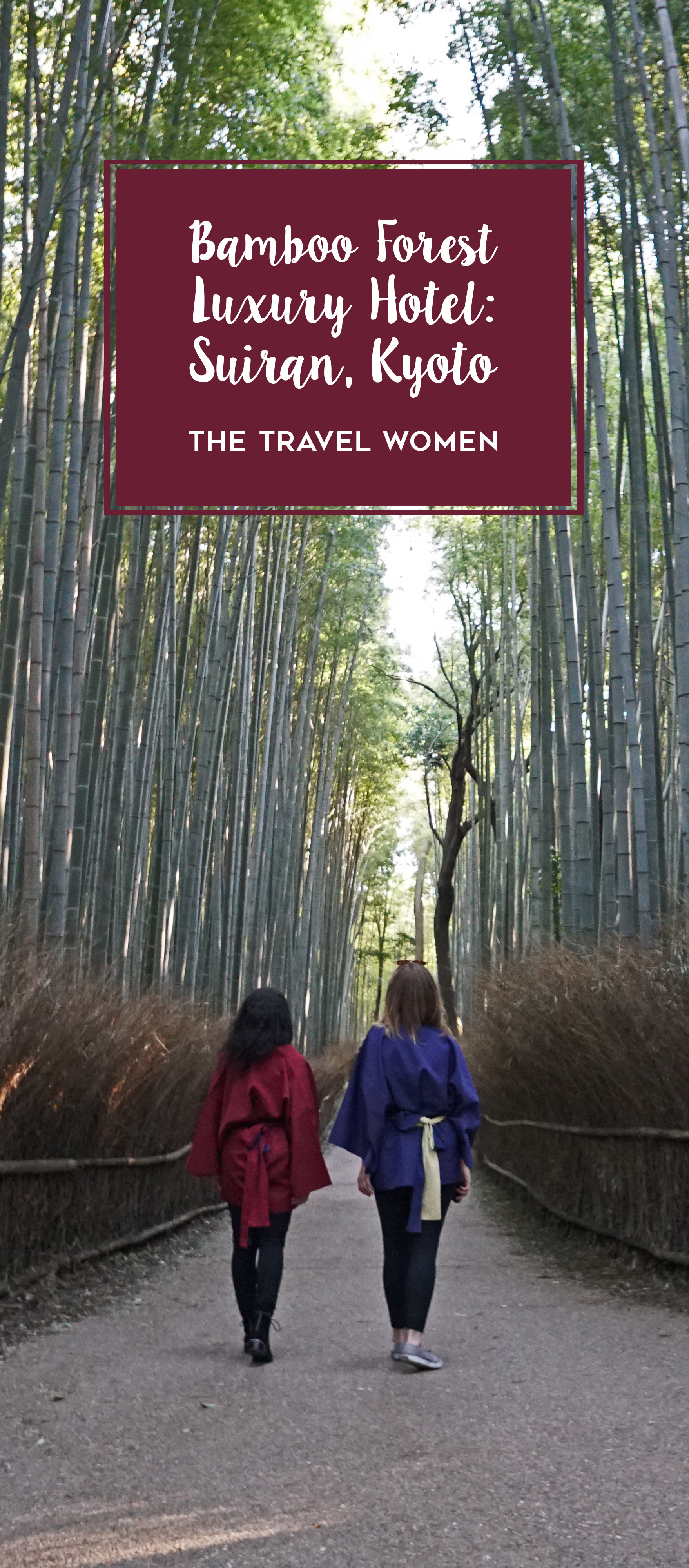 Suiran Kyoto title on image of two women in the bamboo forest