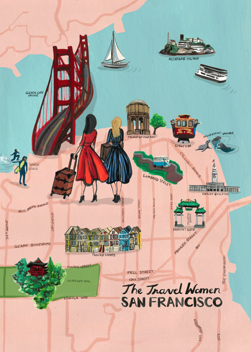 Illustrated pink map of top places in San Francisco