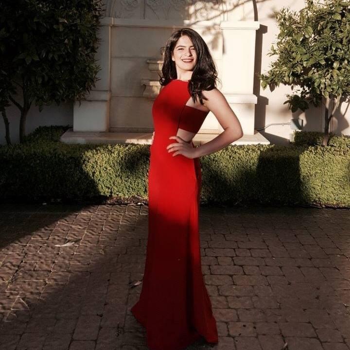 Shar in red dress