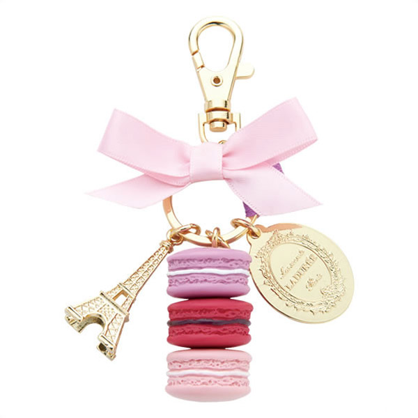 Gold Keychain with pink bow, eiffel tower and 3 pink and red macarons