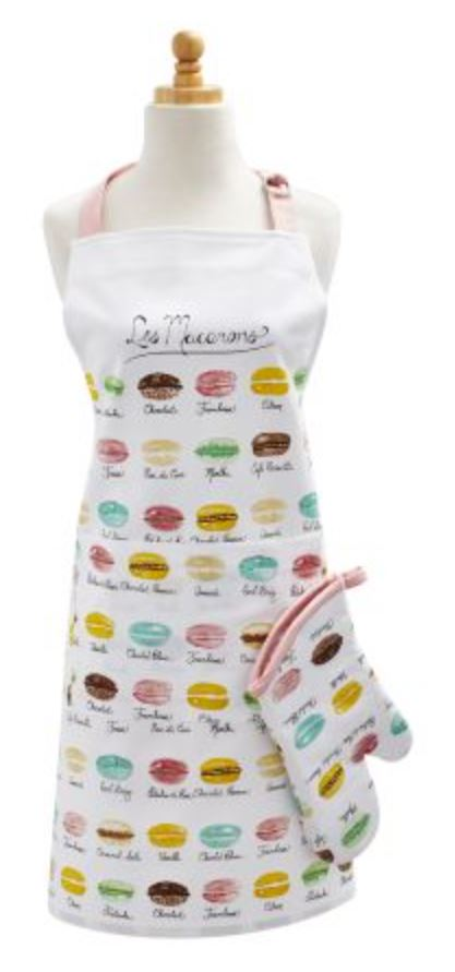 Apron with pattern of repeating macaron flavors and colors
