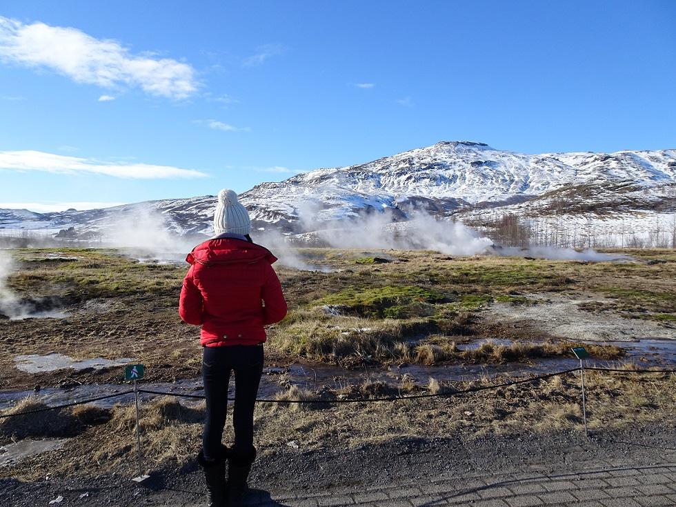 Strokkur geyser in the Geysir Geothermal Area