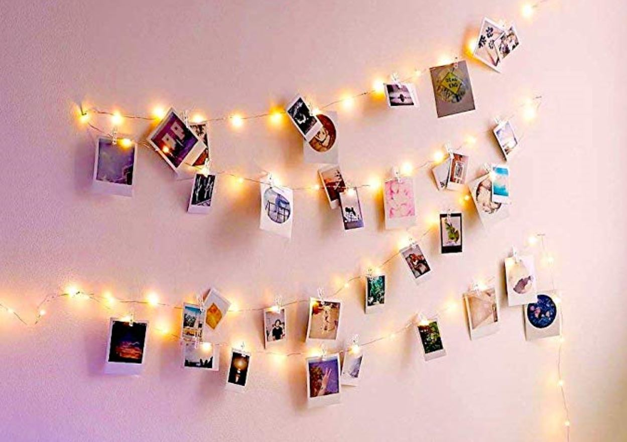 LED fairy lights with clothes hanger clips How to Decorate a Travel Themed Bedroom