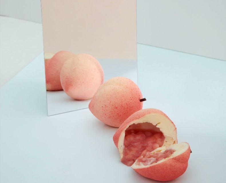 Peach white chocolate dessert LROOM NYC