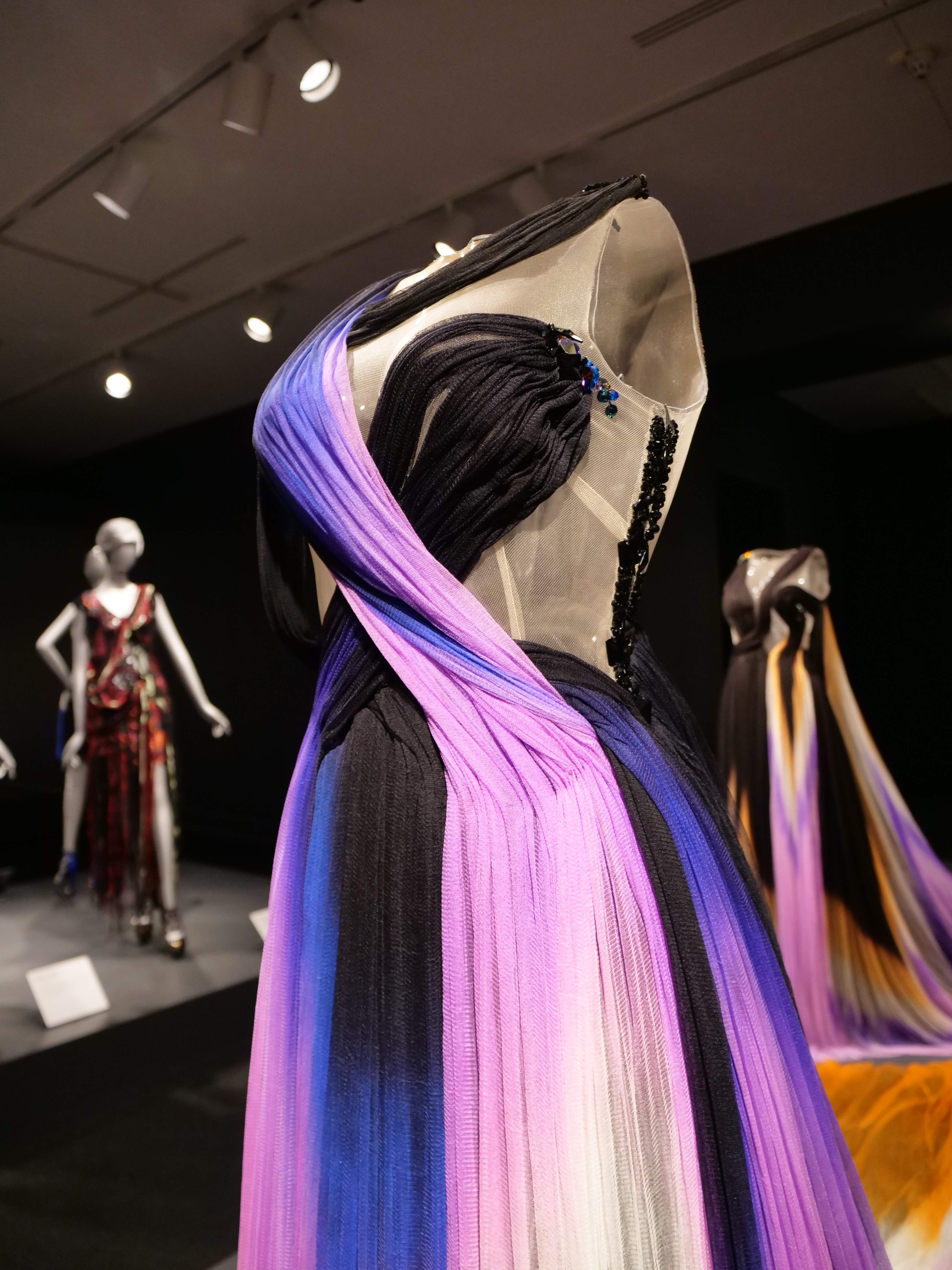 National Museum of Women in the Arts: Rodarte Exhibit with purple black chifon dresses and rhinestone details