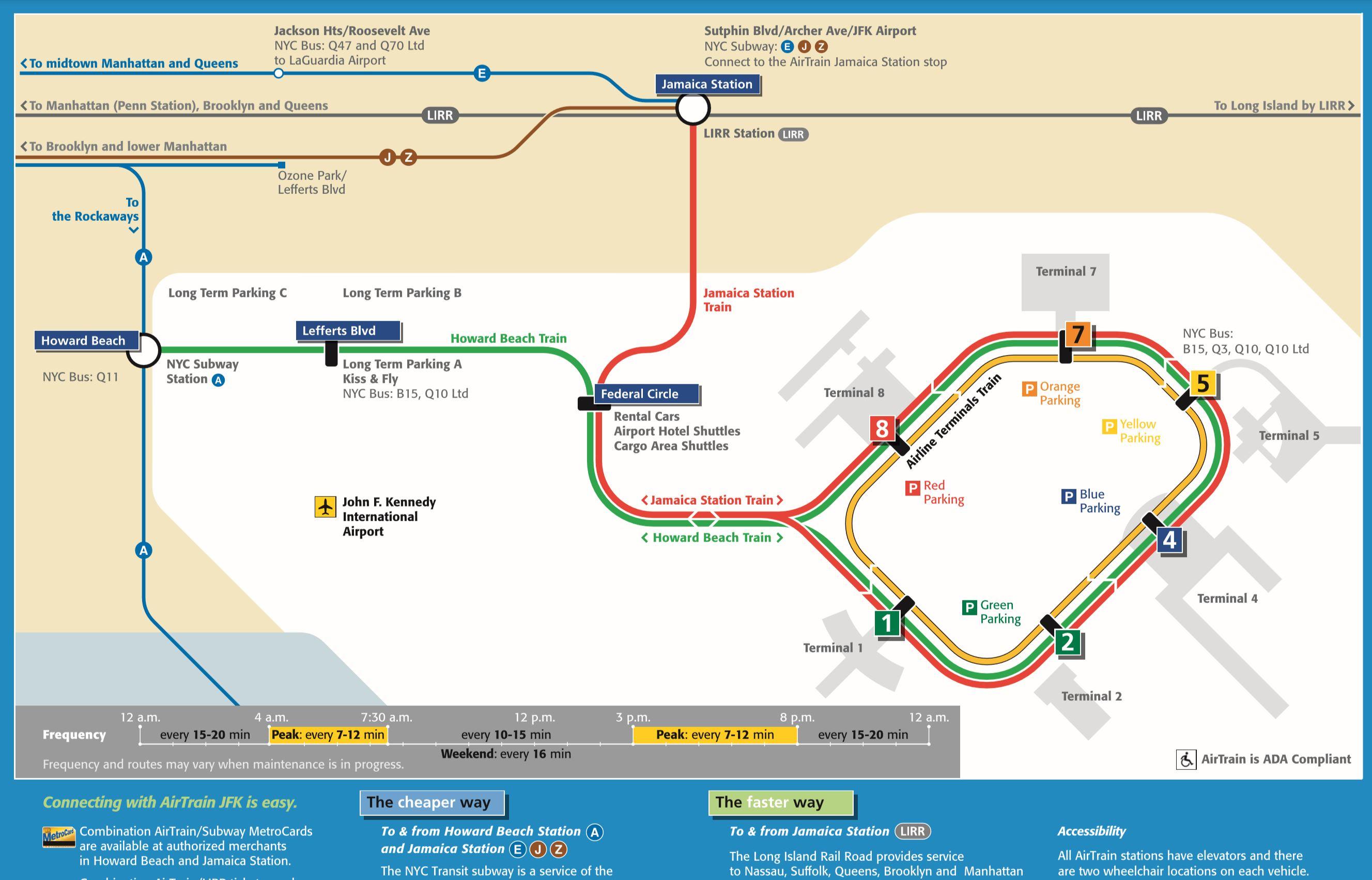 JFK airtrain and subway map