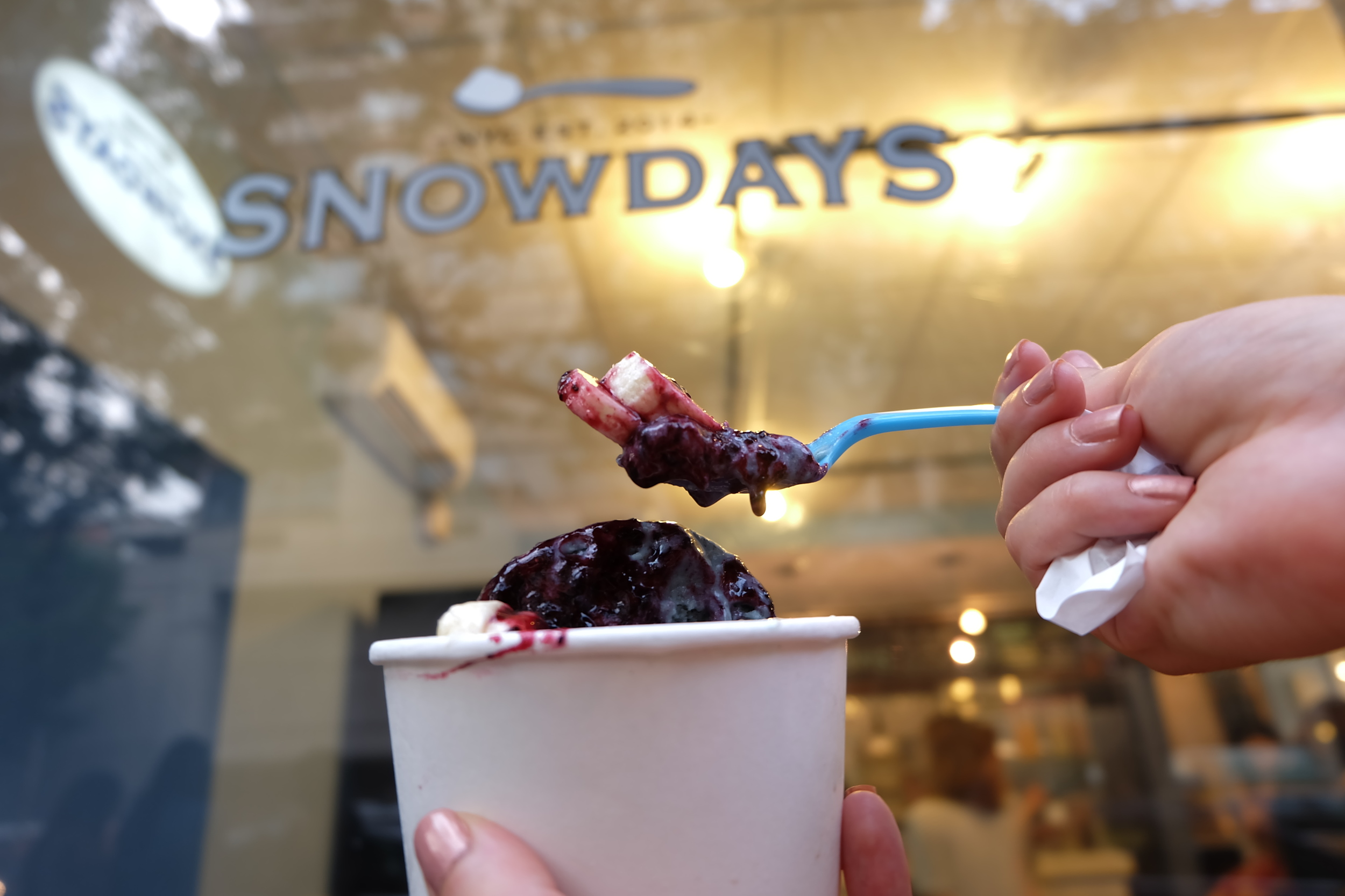16. Snowdays: Snowdays wasn't on my original list but walking past their shop with the line out the door, I had to stop and try some. This light and airy treat is custom shaved to order, inspired by Taiwanese and Korean shaved ices and comes with a spoon that changes color. The Yeti theme makes the