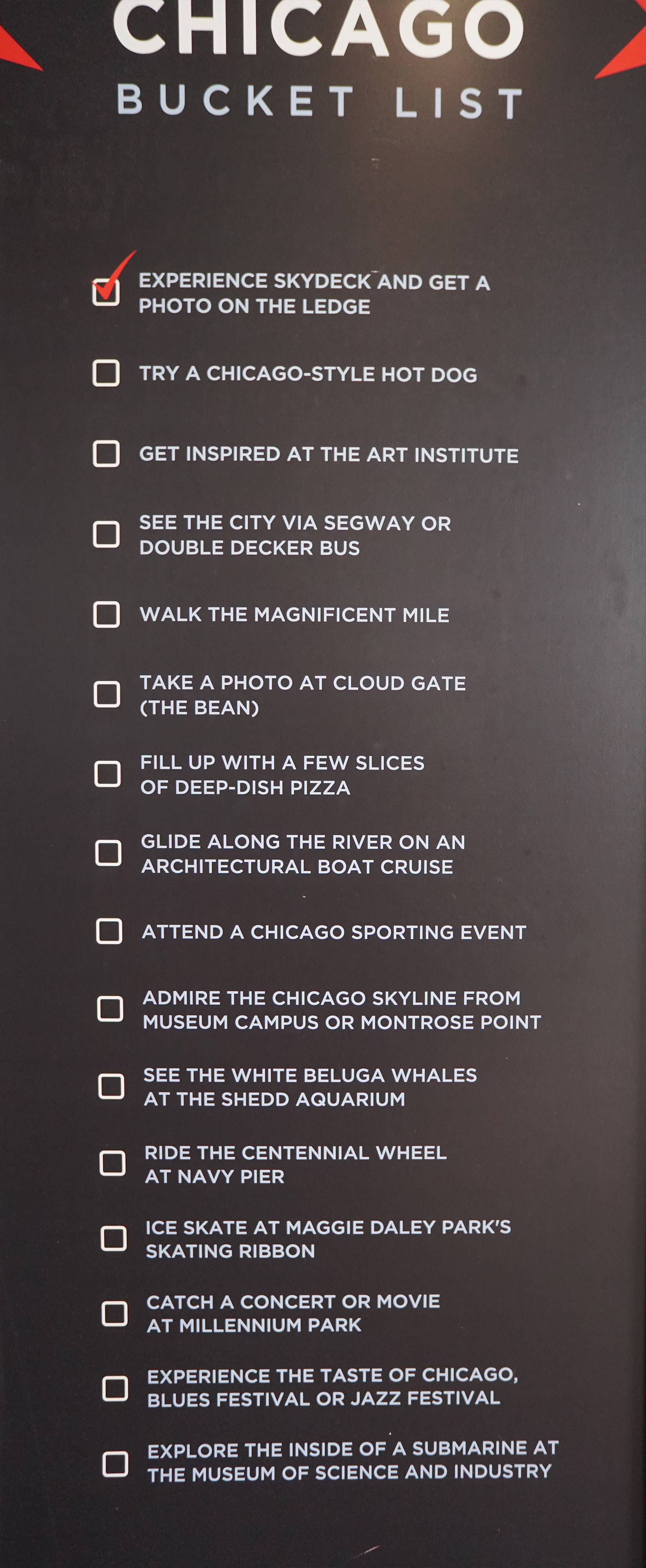 A list of what you need on your Chicago Bucket List from a sporting event to Magnificent Mile