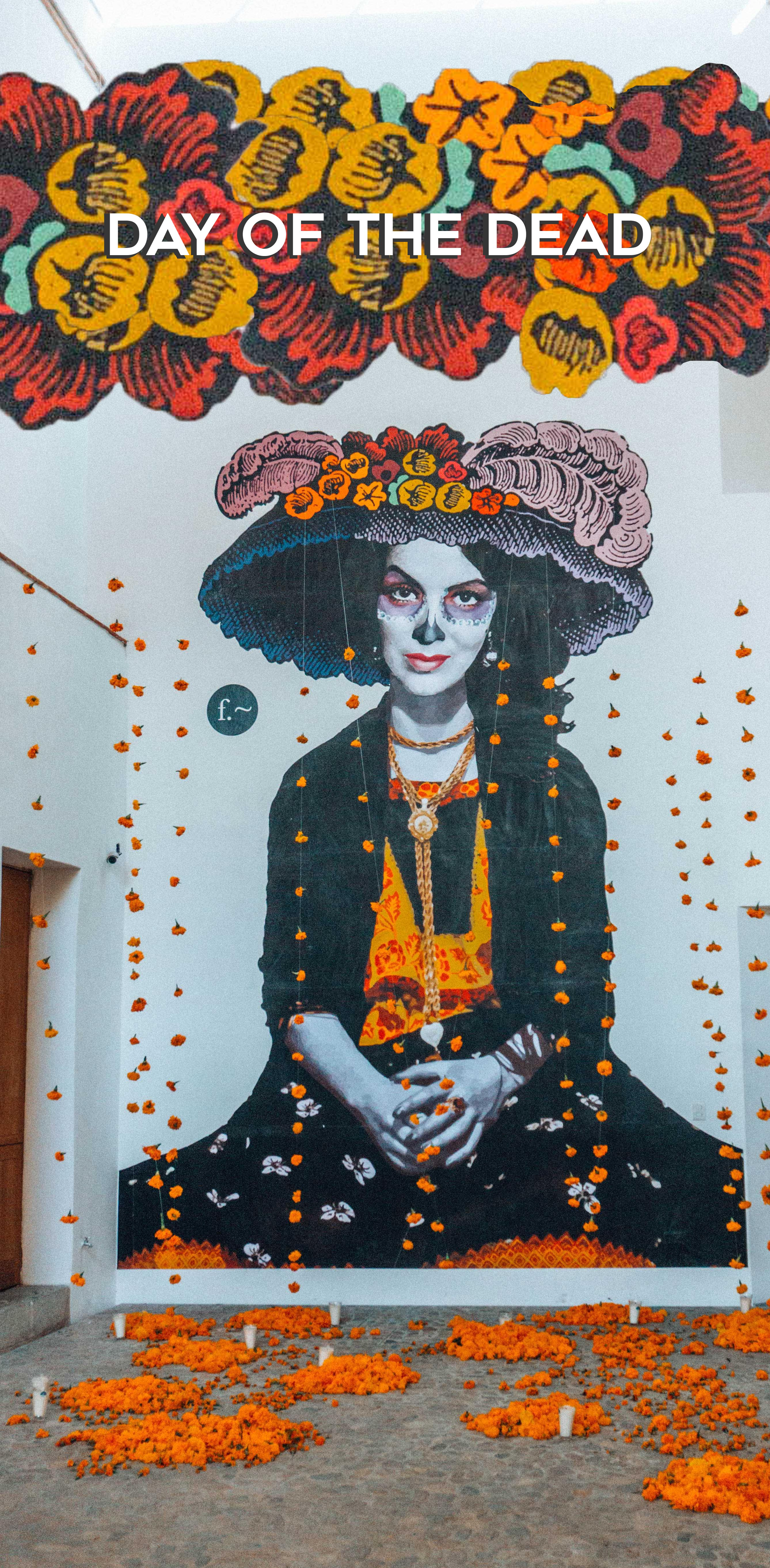 Day of the Dead Pin of woman on wall in skull makeup