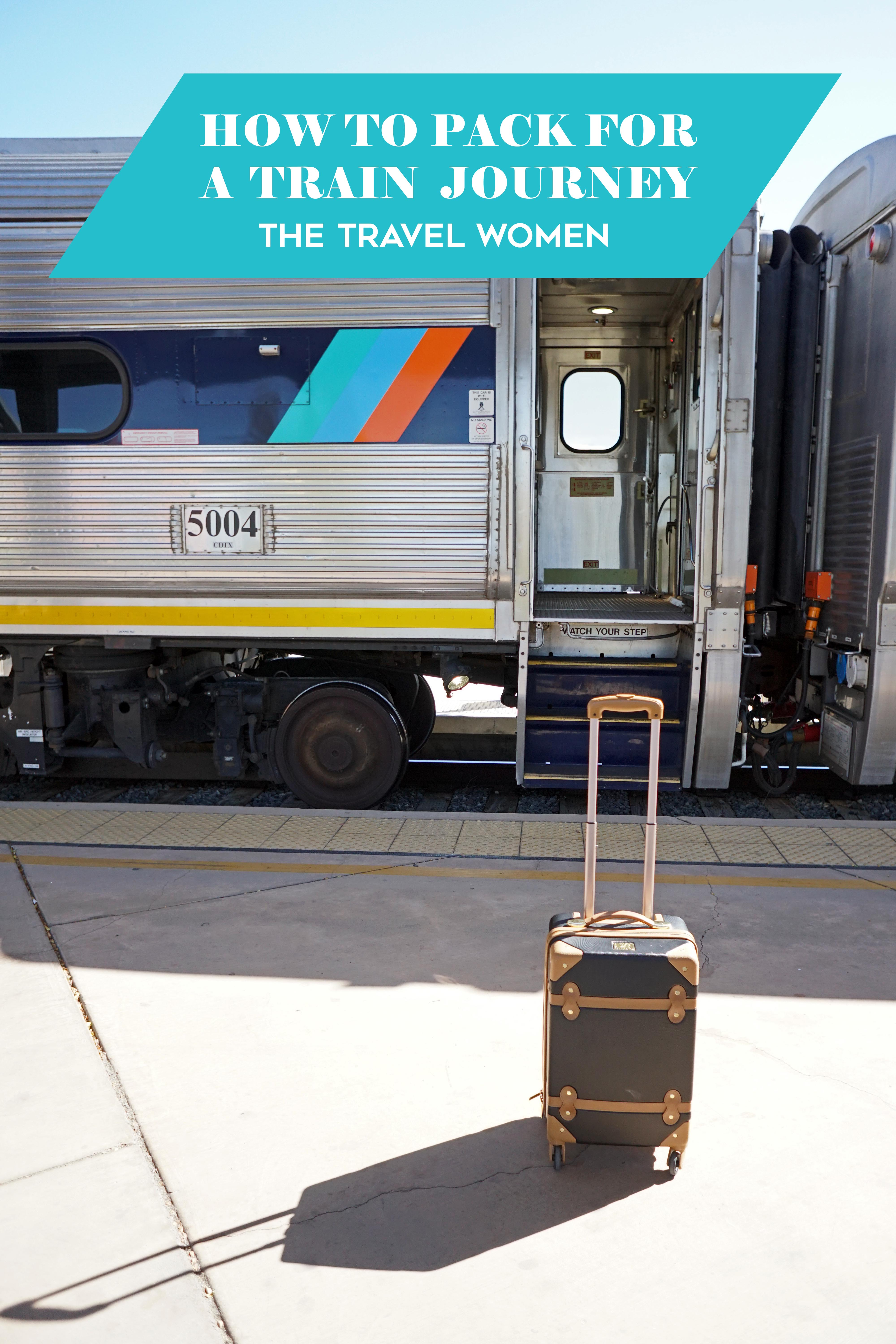 title on top of a photo of a train with door open and a suitcase in front