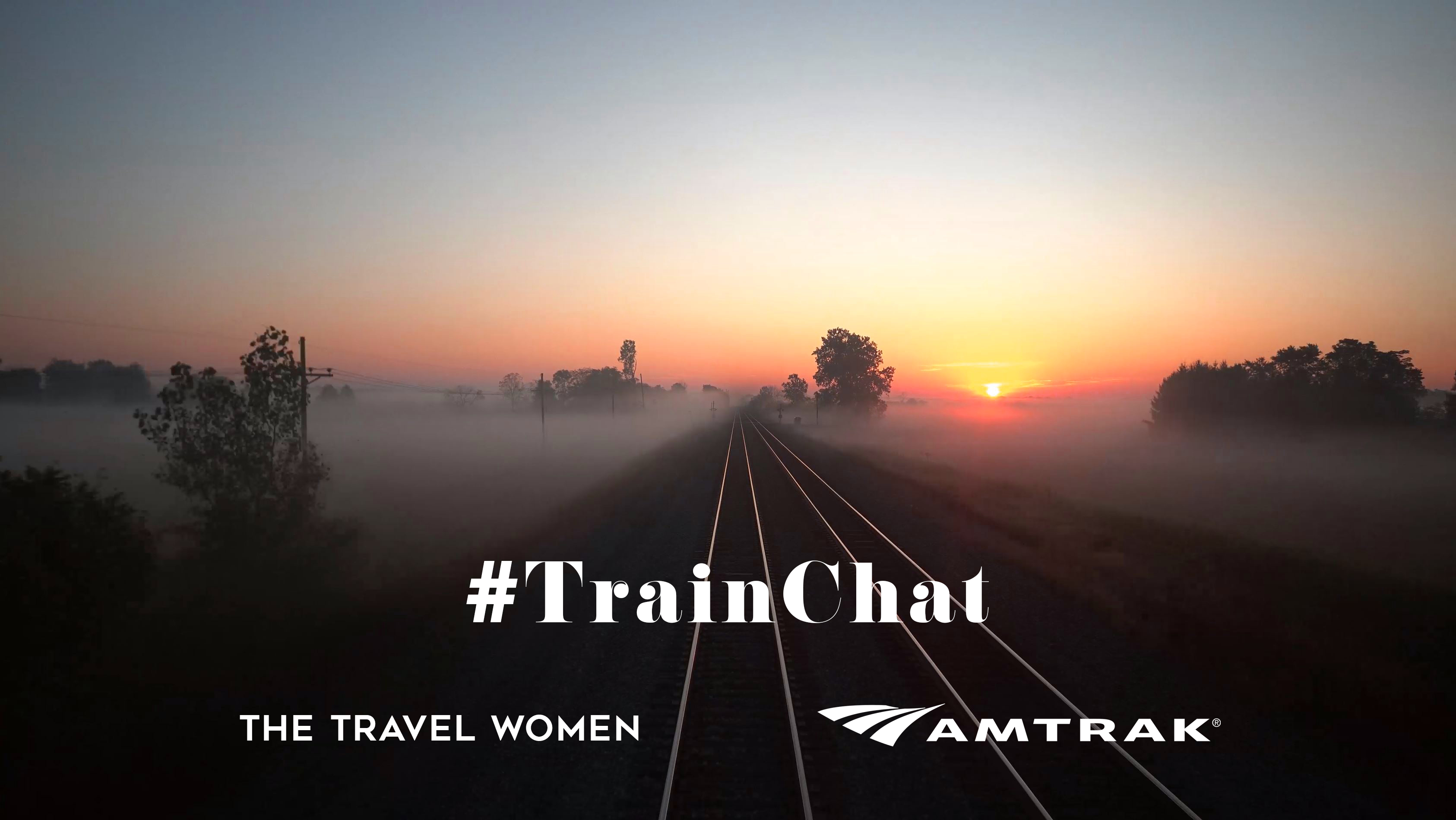 TrainChat with TTW and Amtrak logos over misty morning over train tracks