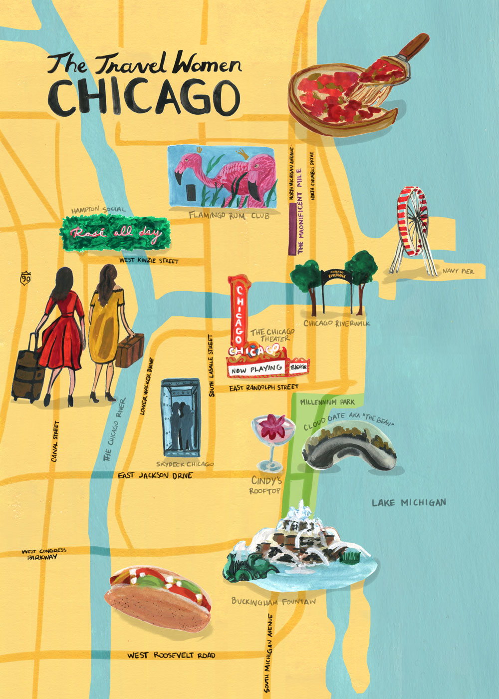 Illustrated map of Chicago with the top places to go and two women with suitcases