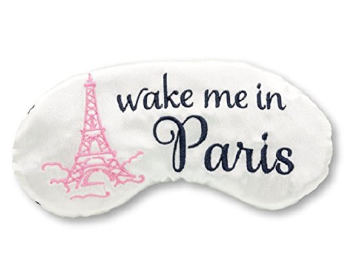 Satin sleep mask with pink eiffel tower reads wake me in Paris