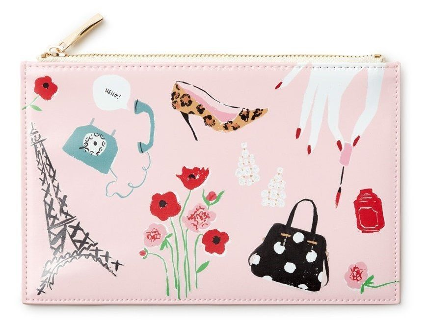Pink pouch with Parisian shoe, flowers and eiffel tower