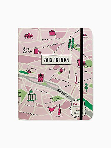 Cute pink agenda with pink paris map background