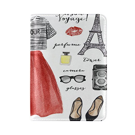 Cute Passport cover with Parisian outfit, sunglasses, shoes and eiffel tower
