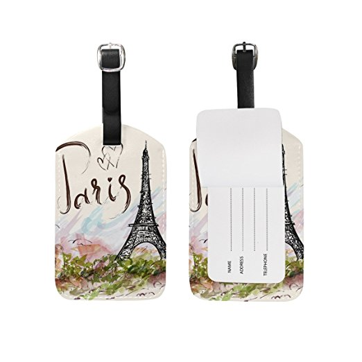 Luggage Tag that says Paris handrawn