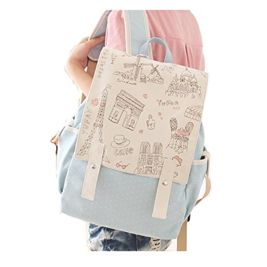 Blue backpack with white top cover with pattern of Parian drawings