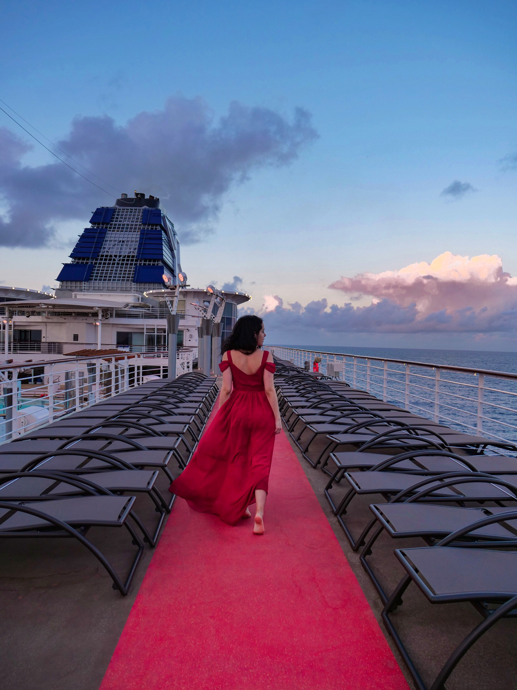 Cruise Guide: Celebrity Summit Revolution Renovations red gown on track